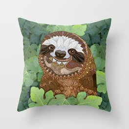 Happy Sloth Throw Pillow