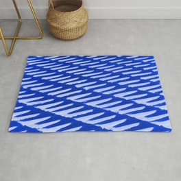 Ice Blue - snow on tiled roof Rug
