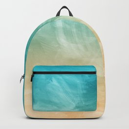 Beach Watercolor, Blue Beige Ombre, Coastal Decor Backpack