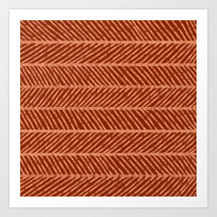 Herringbone Rust and Peach Art Print