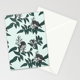 Robins on Jasmine branches - pale blue Stationery Cards