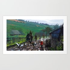 1920 - road blockade Art Print