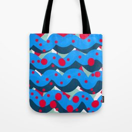abstract pop art pattern design blue red Tote Bag
