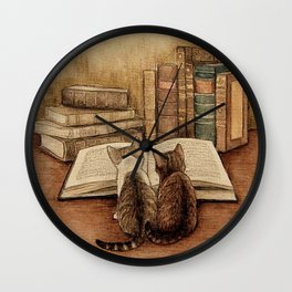 Kittens Reading A Book Wall Clock