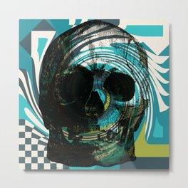 Pop Art Skull Retro 80's Metal Print