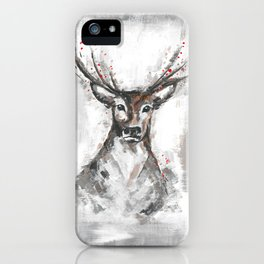 Deer, Christmas Art, Stag Painting iPhone Case
