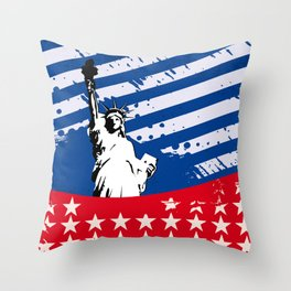 USA Flag - American Flag - Statue of Liberty - 4th July Throw Pillow