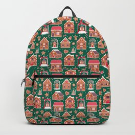 Gingerbread Houses And Sweets Candies - Green Backpack