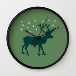 Green Reindeer with Snowflakes Wall Clock