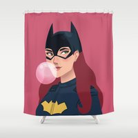 batgirl Shower Curtains featuring Batgirl  by Fleur Sciortino