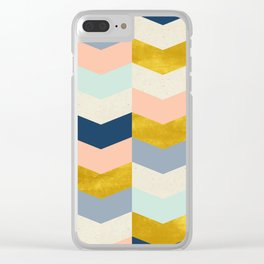 Art Deco Pastel Geometric Pattern Scales Triangles Clear iPhone Case
