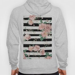 VINTAGE FLORAL ROSES BLACK AND WHITE STRIPES Hoody
