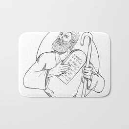 Moses With Ten Commandments Drawing Black and White Bath Mat