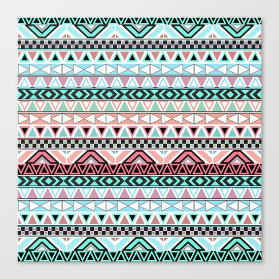 Pastel me   Andes Teal Pink Cute  Abstract Aztec Pattern Canvas Print