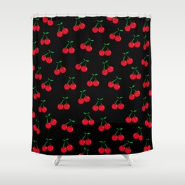 Cherries 2 (on black) Shower Curtain