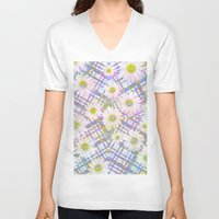 plaid V-neck T-shirts featuring Daisy Plaid by PatternPeople