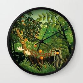 """Henri Rousseau """"Monkeys in the jungle - Exotic landscape"""" Wall Clock"""