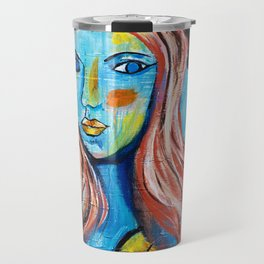 Blue Lady With Hat Travel Mug