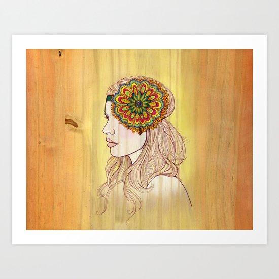 Golden Woodgrain Girl Art Print