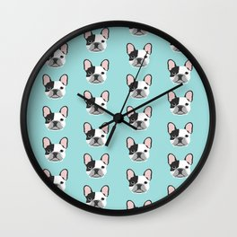 Frenchie black and white french bulldogs french bulldog gifts for dog lovers Wall Clock