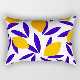 Blue and yellow Lemon Summery Pattern Rectangular Pillow