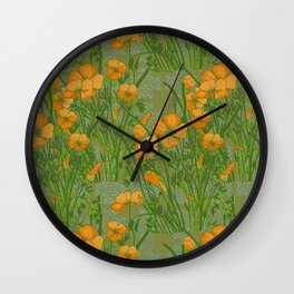 California Poppiess - Vintage inspired print - green orange blue Wall Clock