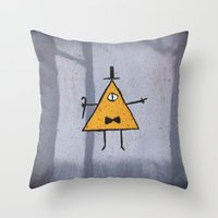 bill cipher Throw Pillows featuring Bill Cipher by Ryn-the-Obsessed