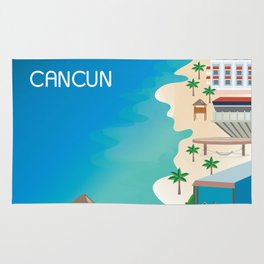 Cancun, Mexico - Skyline Illustration by Loose Petals Rug