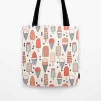 ice Tote Bags featuring Ice Cream Season by Andrea Lauren Design