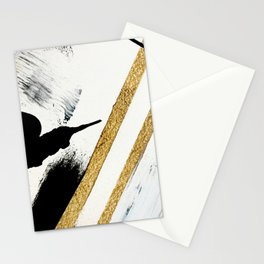 Armor [8]: a minimal abstract piece in black white and gold by Alyssa Hamilton Art Stationery Cards