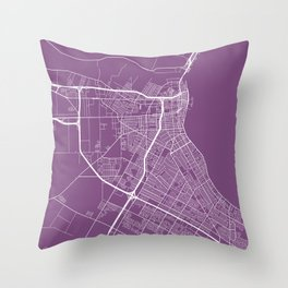 Corpus Christi Map, USA - Purple Throw Pillow