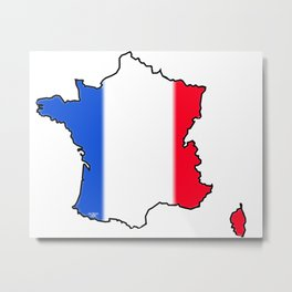 France Map with French Flag Metal Print