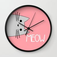 meow Wall Clocks featuring Meow by Hugh & West