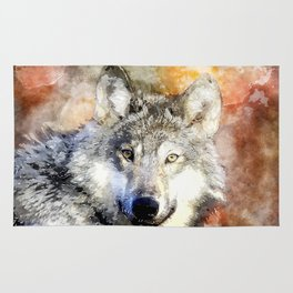 Wolf Animal Wild Nature-watercolor Illustration Rug