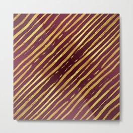 Fuchsia Golden Tiger Stripes Metal Print