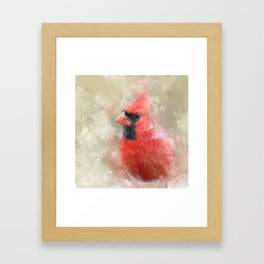 Northern Cardinal Watercolor Splatter Framed Art Print