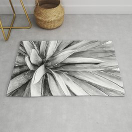 Succulents // Black and White Cactus Plant Leaves Close Up Horizontal Rug