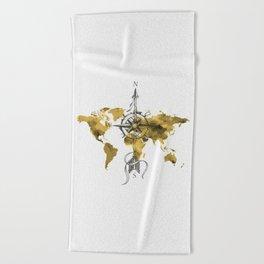 Gold World Map 2 Beach Towel