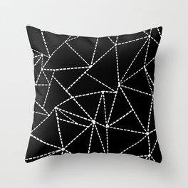 Abstract Dotted Lines White on Black Throw Pillow