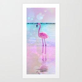 Crazy Flamingo Fancy Mixed Media Summer Art Art Print