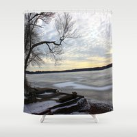 jack frost Shower Curtains featuring Frost by NaturallyJess