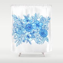 Blue Floral Bouquet Monochrome Watercolor Shower Curtain