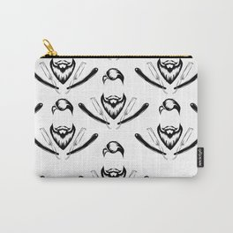 Manly Beard and Straight Razor Pattern Carry-All Pouch