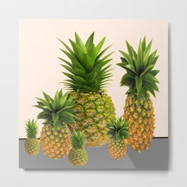 FIVE TROPICAL PINEAPPLES DESIGN Metal Print