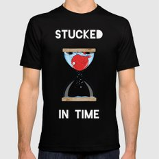 Stucked in time Mens Fitted Tee MEDIUM Black