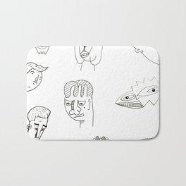 Cartoon character design print with monster people Bath Mat