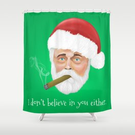 Santa smoking a cigar Shower Curtain