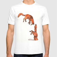 Jumping Red Fox MEDIUM White Mens Fitted Tee
