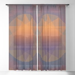 Merkaba, Abstract Geometric Shapes Sheer Curtain