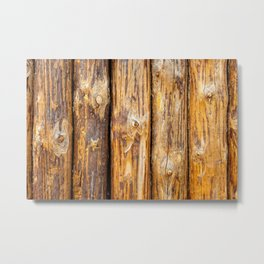 Wooden Log Fence Or Palisade Metal Print